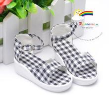 Black Checker Shoes Sandals for 60cm BJD female/Rainy Girl