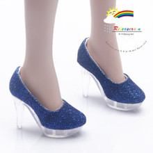 """Clear Pumps Shoes Blue for 22"""" Tonner American Model"""