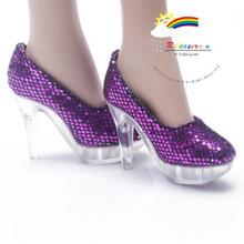 """Clear Pumps Shoes Purple for 22"""" Tonner American Model"""