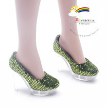"""Clear Pumps Shoes Green for 22"""" Tonner American Model"""