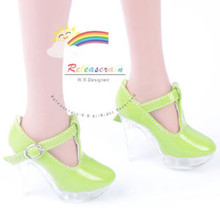 """Clear Stiletto T-Strap Shoes Patent Green for 22"""" Tonner American Model doll"""