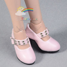 "Metal Holes Strap Mary Jane Heel Shoes Pink for 17"" Tonner DeeAnna Denton dolls"