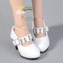 "Metal Holes Strap Mary Jane Heel Shoes White for 17"" Tonner DeeAnna Denton dolls"