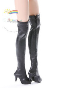 "Over Knee Thigh High-Heel Boots Shoes Black for 17"" Tonner DeeAnna Denton dolls"
