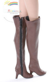"""Over Knee Thigh High-Heel Wide Boots Shoes Brown for 16"""" Tonner Tyler/Gene dolls"""