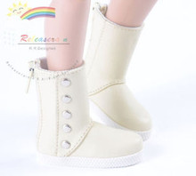 "5-Stud Leather Boots Shoes Ivory for Slim MSD BJD Minifee Unoa 17"" Tonner Matt/Lara Croft/14"" Kish dolls"