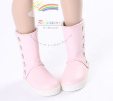 "5-Stud Leather Boots Shoes Pink for Slim MSD BJD Minifee Unoa 17"" Tonner Matt/Lara Croft/14"" Kish dolls"