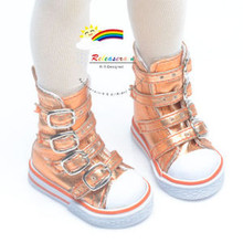 Buckles Ankle Leather Sneakers Boots Shoes Metallic Orange for MSD Dollfie dolls