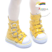 Buckles Ankle Leather Sneakers Boots Shoes Patent Yellow for MSD Dollfie dolls