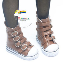 Buckles Ankle Leather Sneakers Boots Shoes Brown for SD Dollfie dolls