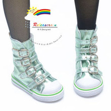 Buckles Ankle Leather Sneakers Boots Shoes Metallic Honeydew for SD Dollfie doll