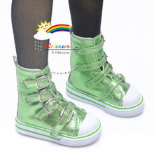 Buckles Ankle Leather Sneakers Boots Shoes Metallic Green for SD Dollfie dolls
