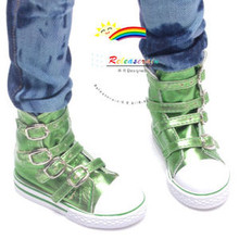 Buckles Ankle Faux Leather Sneakers Boots Shoes Metallic Green for SD13 Boy Rainy Girl BJD Dollfie Dolls