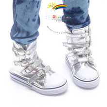 Buckles Ankle Faux Leather Sneakers Boots Shoes Silver for SD13 Boy Rainy Girl BJD Dollfie Dolls