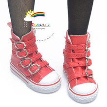 Buckles Ankle Leather Sneakers Boots Shoes Red for SD Dollfie dolls