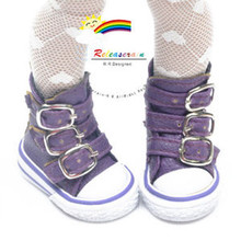 "Buckles Ankle Faux Leather Sneakers Boots Shoes Purple for Yo-SD Dollfie/12"" Kish"