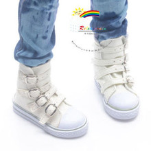 Buckles Ankle Faux Leather Sneakers Boots Shoes Ivory for SD13 Boy Rainy Girl BJD Dollfie Dolls