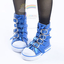 Buckles Ankle Leather Sneakers Boots Shoes Metallic Blue for SD Dollfie dolls