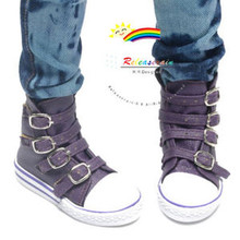 Buckles Ankle Faux Leather Sneakers Boots Shoes Purple for SD13 Boy Rainy Girl BJD Dollfie Dolls
