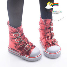 Buckles Ankle Leather Sneakers Boots Shoes Metallic Red for SD Dollfie dolls