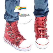 Buckles Ankle Faux Leather Sneakers Boots Shoes Metallic Red for SD13 Boy Rainy Girl BJD Dollfie Dolls