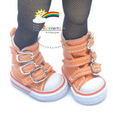 "Buckles Ankle Faux Leather Sneakers Boots Shoes Orange for Yo-SD Dollfie/12"" Kish"