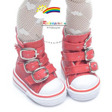 "Buckles Ankle Faux Leather Sneakers Boots Shoes Red for Yo-SD Dollfie/12"" Kish dolls"