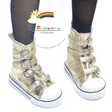 Buckles Ankle Leather Sneakers Boots Shoes Gold for SD Dollfie dolls