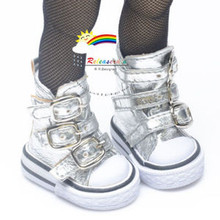 "Buckles Ankle Faux Leather Sneakers Boots Shoes Silver for Yo-SD Dollfie/12"" Kish"