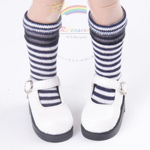 "Black/White Stripes Black Lace Trim stockings Socks for Yo-SD Dollfie/12"" Kish"
