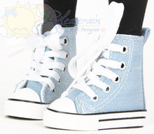 Ankle Lace-Up Cons Sneakers Shoes Boots Washed Denim Light Blue for SD Dollfie