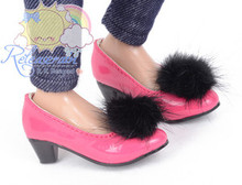 "Black Mink Fluffy Pt Rose Pumps MSD BJD Dollfie Shoes for Unoa/14"" Kish/Minifee"
