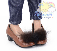 """Choc Mink Fluffy Brown Pumps MSD BJD Dollfie Shoes for Slim MSD BJD Minifee Unoa/14"""" Kish/Minifee"""