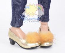 "Caramel Mink Fluffy Gold Pumps MSD BJD Dollfie Shoes for Unoa/14"" Kish/Minifee"