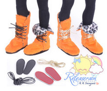 "2-Way Pony Hair Fur Boots Shoes Orange/Leopard for 14"" Kish/MSD Dollfie BJD doll"