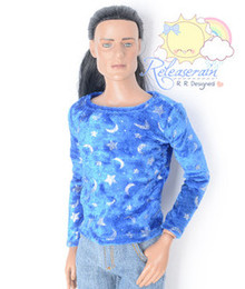 "Doll Clothes Outfit Blue Velvet Silver Moon Star Shirt for 17"" Tonner Male Matt"