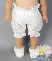 "Doll Clothes White Lace Mesh Bloomers Pants for 18"" American Girl dolls"