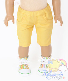 "Doll Clothes Elastic Waist Mango Yellow Denim Capri Jeans for 18"" American Girl"