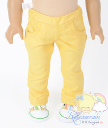 "Doll Clothes Elastic Waist Mango Yellow Jeans Trousers for 18"" American Girl"