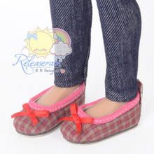 "Ballet Ribbon Pumps Shoes Rose Pink/Khaki Plaid for Slim MSD BJD Minifee Unoa 14"" Kish/17"" Goodreau BJD Dolls"