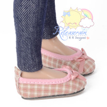 "Ballet Ribbon Pumps Shoes Pale Pink Plaid for Slim MSD BJD Minifee Unoa 14"" Kish/17"" Goodreau BJD Dolls"