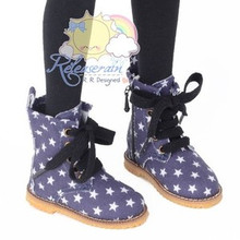 Martin Stitch Shoes Boots Blue/W Patriotic Stars For 1/4 Scale Volks MSD Size BJD Dollfie