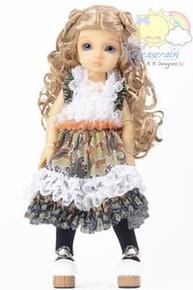 Green/Orange Paisley Ruffle Lace Mesh Dress Outfit for Yo-SD Dollfie BJD dolls