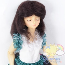 "Mohair Wool Doll Wig 7-8"" #M108 Very Dark Brown for MSD BJD, Kaye Wiggs, Ellowyne"