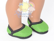 """Athletic Mesh Black Wrap Rim Apple Green Pumps Shoes for 18"""" American Girl doll"""