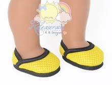 """Athletic Mesh Black Wrapped Rim Yellow Pumps Shoes for 18"""" American Girl dolls"""