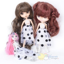 "Doll Clothes Outfit Wh/Blk Dot Halter Dress for 12"" Blythe, Pullip, Monster High"