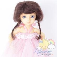 Mohair Wool Doll Wig Size 6-7 #Y67 Wine Brown Hair for Unoa/Narae/Ellowyne/Yo-SD
