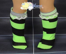 "Lime Green/Black Irregular Stripes Lace Trim Socks for 18"" American Girl dolls"