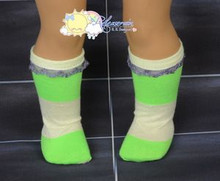 "Lime Green/Light Yellow Cotton Lace Trim Socks for 18"" American Girl dolls"